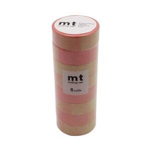 【クーポンあり】mt DECO マスキングテープ 15mm×7m 単色8巻入りパック 蛍光グラデーション ピンク×グリーン MT08D459