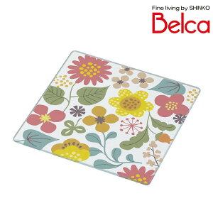 【クーポンあり】Belca(ベルカ) 強化ガラス製プレート 1515 ガーデンフラワー KTP-GF1515 しょうゆ 花 汚れ かわいい デザイン おしゃれ ソース テーブル 塩 調味料