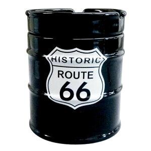 【ポイント10倍】【クーポンあり】NEWドラム缶灰皿 ROUTE66 AR-1426-4 フタ付 陶器製 大容量 かわいい シンプル 卓上 アシュトレイ おしゃれ