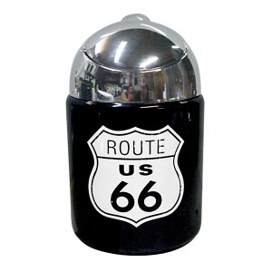 レトロ ドームアシュトレイ(灰皿) US66 AR-894 たばこ 灰皿 ルート66 ふた付き 陶器 吸い殻 アメリカン スチール 黒 おしゃれ ブラック