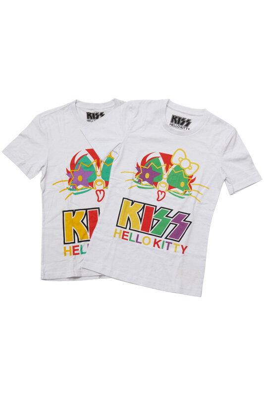 KISS × HELLO KITTY シリーズ Tシャツ カラーフェイス