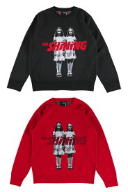 "KNIT GANG COUNCIL ""THE SHINING"" CREW NECK SWEATER ""TWINS"" BLACK/RED"