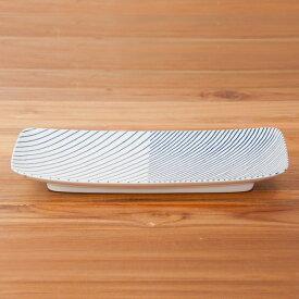 白山陶器 重ね縞 長焼皿 / HAKUSAN