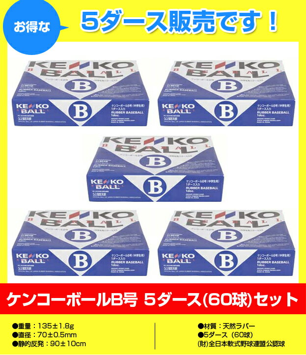 【軟式野球【お買い得まとめ買い】ケンコー軟式ボールB号 5ダース(60球)セットNAGASE健康KENKO(野球用品 野球グッズ ベースボール ナガセケンコー 軟式ボール ) 1005_flash 02P03Dec16