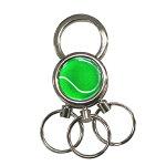 3連キーホルダーテニスボール柄【グリーン(緑/銀)】