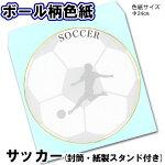 ボール柄色紙/サッカーボール/Φ24cm/封筒・スタンドつき