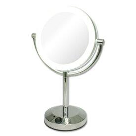 拡大鏡 5倍拡大+等倍鏡+LEDライト付き 真実の鏡DX 両面型 しっかり見える拡大鏡+くるっと返せば等倍鏡でとっても便利★電池でもコードでも使用可 角度調節可 /かがみ カガミ ミラー 丸 メイクミラー 化粧鏡 スタンド 卓上 近視 老眼鏡