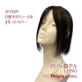 【期間限定ポイント10倍】部分ウィッグ 人毛 ロング 総手植え つむじ 頭頂部 トップピース PON-PA LONG
