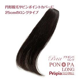 部分ウィッグ 人毛100% 円形脱毛症 総手植え ポイントウィッグ つむじ トップのボリューム Petit PON-PA LONG プチポンパロング