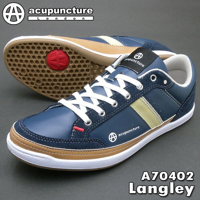 アキュパンクチャー スニーカー A70402 Langley ラングレー ネイビー 送料無料