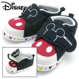 ディズニー ベビー がばっと開いて はきやすい ファーストシューズ DS0150 ミッキーマウス ブラック 履かせ易い 赤ちゃん用 スニーカー 靴 ズック 軽い Tsale Pssale