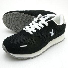 靴幅:3E広め PLAYBOY Bunny プレイボーイ レディース スニーカー PB-1215 ブラック PB1215 PSsale
