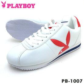 PLAYBOY Bunny プレイボーイ レディース スニーカー PB-1007 ホワイト/レッド/ブルー PB1007PSsale【ラッキーシール対応】