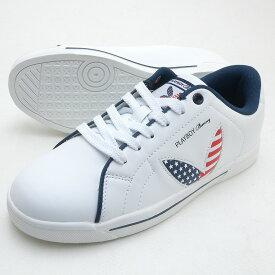 靴幅:3E広め PLAYBOY Bunny プレイボーイ レディース スニーカー PB-0842 USA スターズ&バーズ アメリカ合衆国国旗柄 PB106 PSsale