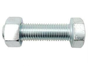 (JA)付属書品 六価ユニクロメッキ 強度区分4.8 六角ボルト(全ねじ)+六角ナット(1種) 2点セット M14×40L