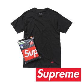 SupremeシュプリームHanes T-Shirts (3Pack)/ヘインズ タグレス コットン Tシャツ(3パック)ブラック【spr001-black】
