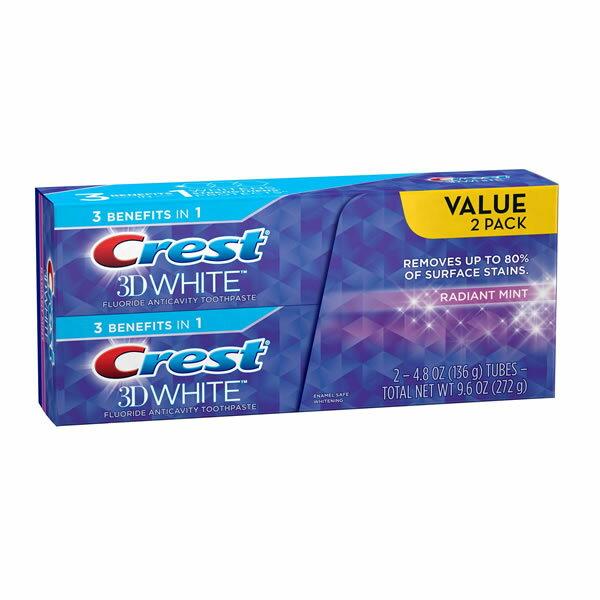 クレスト 3Dホワイト 歯磨き粉 Crest 3D White 136g×2本セット/RADIANT MINT【cre-001】