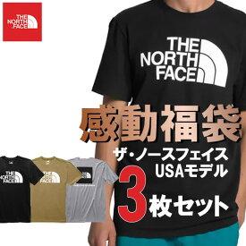 The North Face USAモデル ノースフェイス Tシャツ 3枚セット お楽しみ 感動 福袋 サマーパック【ad870】