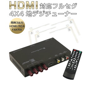 NISSAN NV350キャラバン 地デジチューナー カーナビ ワンセグ フルセグ HDMI FAKRAコネクター 4チューナー 4アンテナ 自動切換 150km/hまで受信 高画質 古い車載TVやカーナビにも使える 12V/24V対応 アンテナ miniB-CASカード付き 1年保証