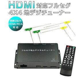 MAZDA ロードスター/RF 地デジチューナー カーナビ ワンセグ フルセグ HDMI 4x4 高性能 4チューナー 4アンテナ 自動切換 150km/hまで受信 高画質 古い車載TVやカーナビにも使える 12V/24V フィルムアンテナ miniB-CASカード付き 1年保証