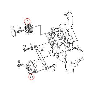 ベンツウォーターポンプ&ベルトテンショナー&アイドラプーリー&ファンベルト4点セットM112(V6)M113(V8)エンジン用