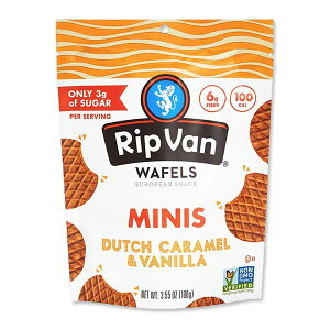 [NEW] ローシュガーワッフルクッキー ミニサイズパウチ ダッチキャラメル&バニラ 100g(3.55oz)Rip Van Wafels(リップバンワッフルズ)