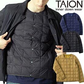 taion インナーダウン メンズ クルーネックボタン インナーダウンジャケット TAION-104 ビジネス ダウン 秋 冬 秋冬