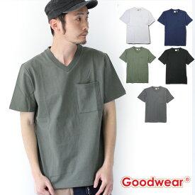 送料無料 グッドウェア tシャツ メンズ Goodwear USAコットン Vネック TEE 2W7-73508 メンズ 春 夏 無地 定番 大きいサイズ
