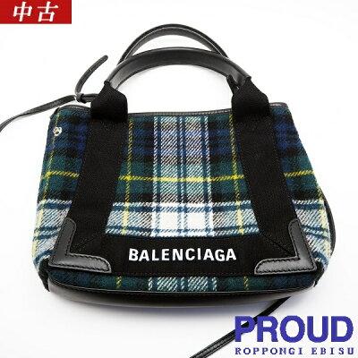 【中古美品】BALENCIAGA(バレンシアガ) ネイビーカバ XS チェック 390346