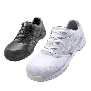 ミズノ(MIZUNO) C1GA1710 オールマイティCS /22.5〜28.0・29.0cm ホワイト ブラック 白 黒 安全靴 スニーカー ローカット 靴紐 靴ひも JSAA規格A種 軽量 人工皮革 メンズ セーフティシューズ【メーカ