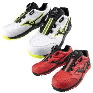 ミズノ(MIZUNO) F1GA2104 オールマイティHW52M BOA/25.0〜28.0cm 数量限定販売 ホワイト レッドMIZUNOWAVE搭載 白 赤 安全靴 スニーカー ローカット ダイヤル式 ボアシステム JSAA規格A種 け セー