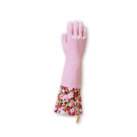 【在庫限り】東和 TOWA 天然ゴム手袋カフス付 S/Mサイズ(全長40cm) 248 1双 単品 ピンク かわいい 手袋 花柄 おしゃれ 洒落 洗濯 炊事 掃除