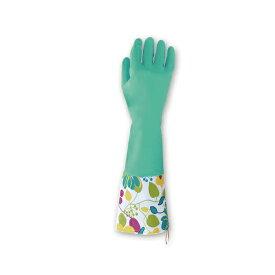 【在庫限り】東和 TOWA 天然ゴム手袋カフス付 M/Lサイズ(全長40cm) 249 1双 単品 グリーン かわいい 手袋 花柄 おしゃれ 洒落 洗濯 炊事 掃除