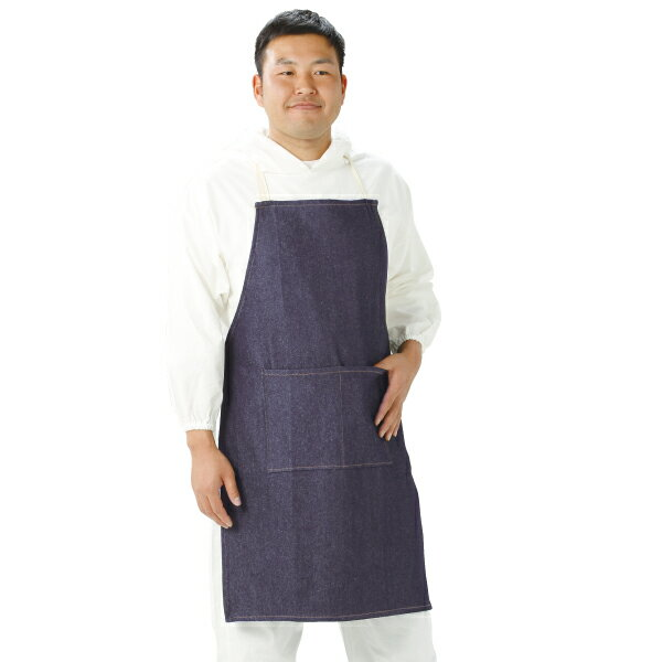 NJ-100P デニム胸付前掛け(ポケット付き) ロープ紐タイプ エプロン 胸当て 職人用 作業用 汚れ防止