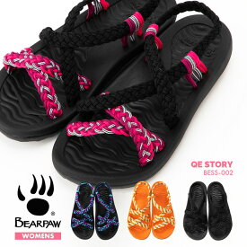 【送料無料】BEARPAW QE STORY BESS-002 ベアパウ 手編み サンダル ビーチサンダル 草履 下駄風サンダル 浴衣 レディース 女性 婦人