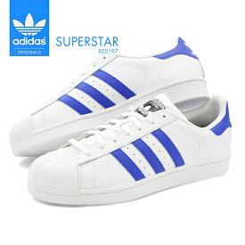 【送料無料】 スーパースター アディダス 男性 メンズ 紳士 靴 スニーカー シューズ ホワイト adidas SUPERSTAR ORIGINALS BZ0197 白 青 ブルー 定番 人気