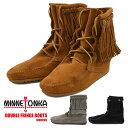 MINNETONKA DOUBLE FRINGE BOOT ミネトンカ ダブルフリンジ ブーツ スウェード ブラック ブラウン シューズ 靴 レディ…