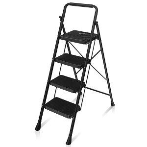 【全国送料無料】脚立 はしご 鉄素材 持ち運び便利 持ち手付き 軽量 折りたたみ脚立 踏み台 滑り止め付き ステップ台 四段 RIKADE