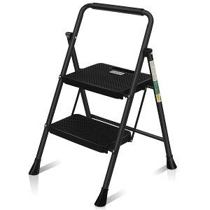 【全国送料無料】脚立 はしご 鉄素材 持ち運び便利 持ち手付き 軽量 折りたたみ脚立 踏み台 滑り止め付き ステップ台 二段 RIKADE