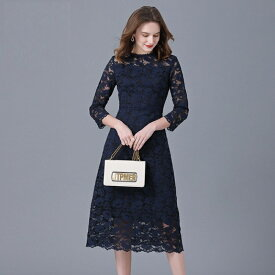 ワンピース 長袖 きれいめ フォーマル 大きいサイズ 花柄 総レース ドレス 上品 八分袖 シンプル ネイビー きれい見え 結婚式 母 親族 L〜6L OL