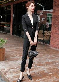セットアップ レディース 大きいサイズ パンツスーツ セット 個性的 かっこいい 結婚式 七分袖 黒 グレー 大人 上品 S〜5L サブリナパンツ 選べる 上下サイズ違いOK ビジネス リクルート 歓送迎会 20代 30代 40代 50代