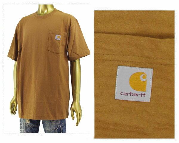 CARHARTT カーハート ビッグサイズ 対応 6.75オンスのコットンジャージー素材を使用した厚手でしっかりした生地感 タフな Tシャツ メンズ 【K87-BRN ポケット】