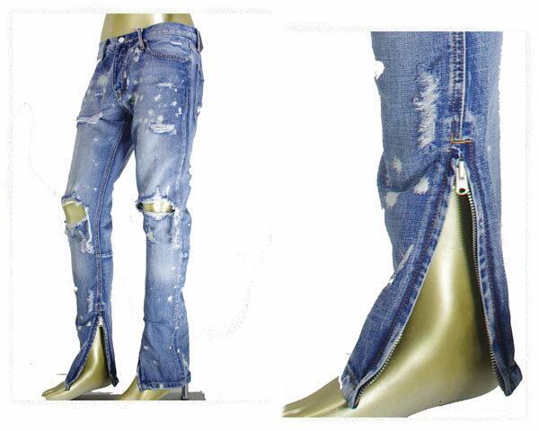 MNML ミニマル M1 SPLASH DENIM ヴィンテージ加工が施されたミディアムオンスデニムを採用、裾に向かってテーパード ジップアップ(ZIP UP) スキニーフィット デニムパンツ メンズ 【M2016-P151 BLUE】