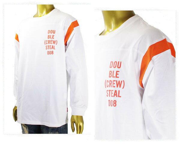 DOUBLE STEAL ダブルスティール 411(フォーダブルワン)掲載ストリートブランド Shorder Line Football 長袖 ロンT Tシャツ メンズ 【474-16004 01Bオレ】