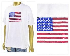 HALHAM ハルハム USA フラッグデザイン スパンコール Tシャツ メンズ 【186023 Fスパンコール】