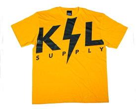 KSL SUPPLY ケーエスエル サプライ 411掲載 ラッパー、KOWICHIがディレクション THUNDER LOGO ブランドネームをイナズマに例えて大胆にプリント Tシャツ メンズ 【L19S05-TS ボルト】