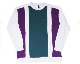 HALHAM ハルハム グリーンとパープルの配色切替えが視線を集めるクルーネック Tシャツ メンズ 【286013H 1タテキリカエ】