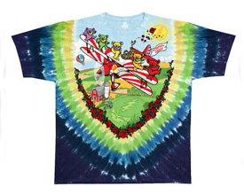 OFFICIAL LICENSE オフィシャル ライセンス USAロックバンド Grateful Dead グレイトフル・デッド のキャラクター デッドベアーのタイダイ染め Tシャツ メンズ 【11310 グレイトルPLA】