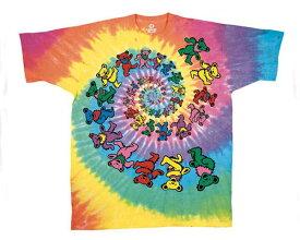 OFFICIAL LICENSE オフィシャル ライセンス USAロックバンド Grateful Dead グレイトフル・デッド のキャラクター デッドベアーのタイダイ染め Tシャツ メンズ 【11396 グレイトフルSP】