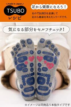 TSUBOレシピ靴下ソックスつぼマップ日本製5本指メンズレディース足つぼマッサージ